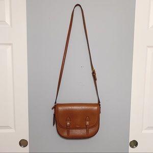 Ralph Lauren Tan Saddle Leather Crossbody Bag